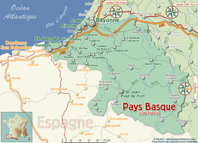 Basque France Map.Location Your Home Izaratu Guethary Rental Apartment On The